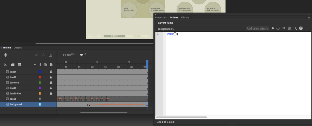 On the timeline, the last frame is highlighted, which is where an ActionScript code was added, shown in ActionScript window. An example of how to control a timeline prototyping in Animate.