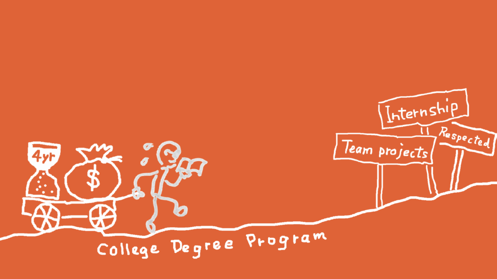 Illustration showing a person taking a college path to become a UX designer