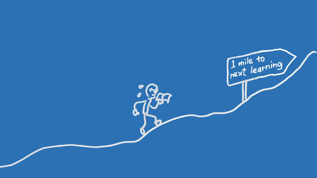 Illustration showing a journey of a UX designer is continuous learning