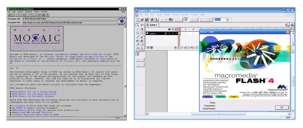 Left: MOSAIC UI screenshot, Right: Flash 4 UI