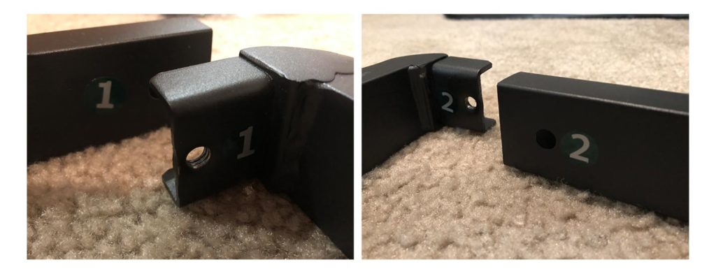 Photos showing numbering stickers on components: step 1 and 2