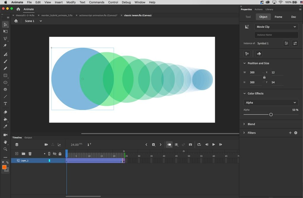 Showing an example of tween animation of a circle moving from left to right.