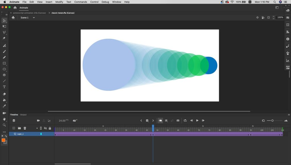 Tween animation of a circle from left to right.