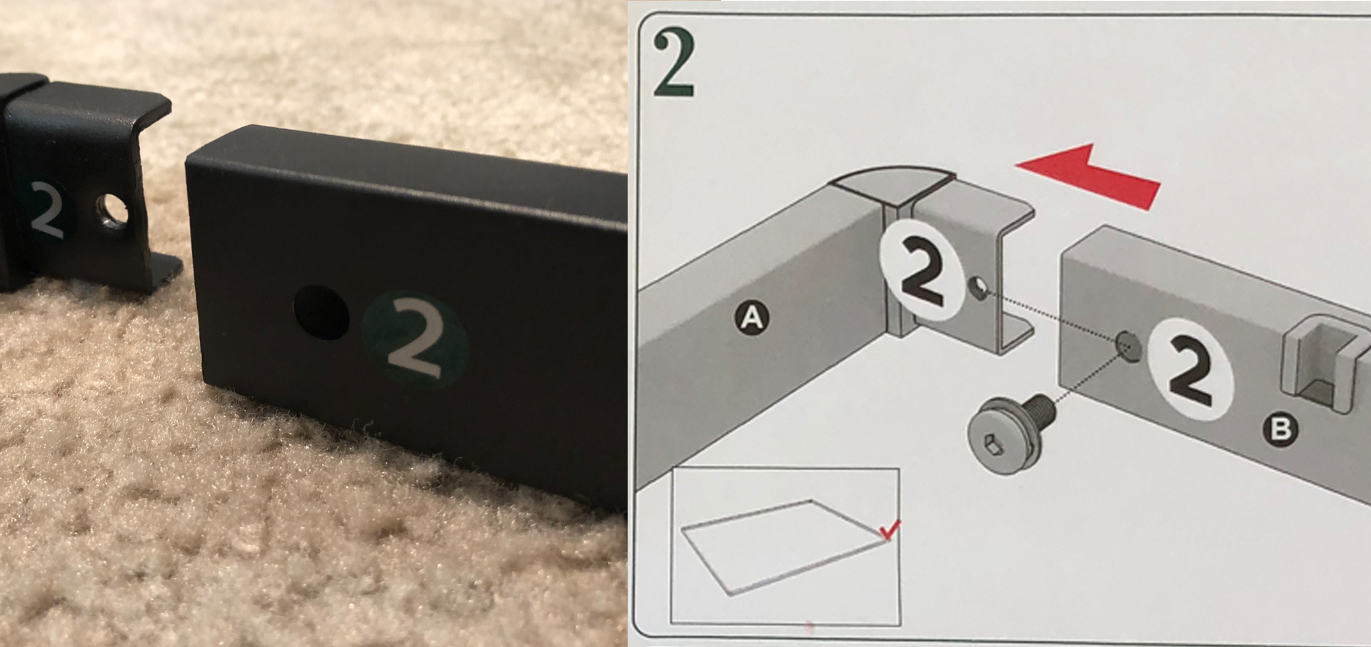 Bunkie board by Zinus, a photo of the product vs. assembly instruction manual.