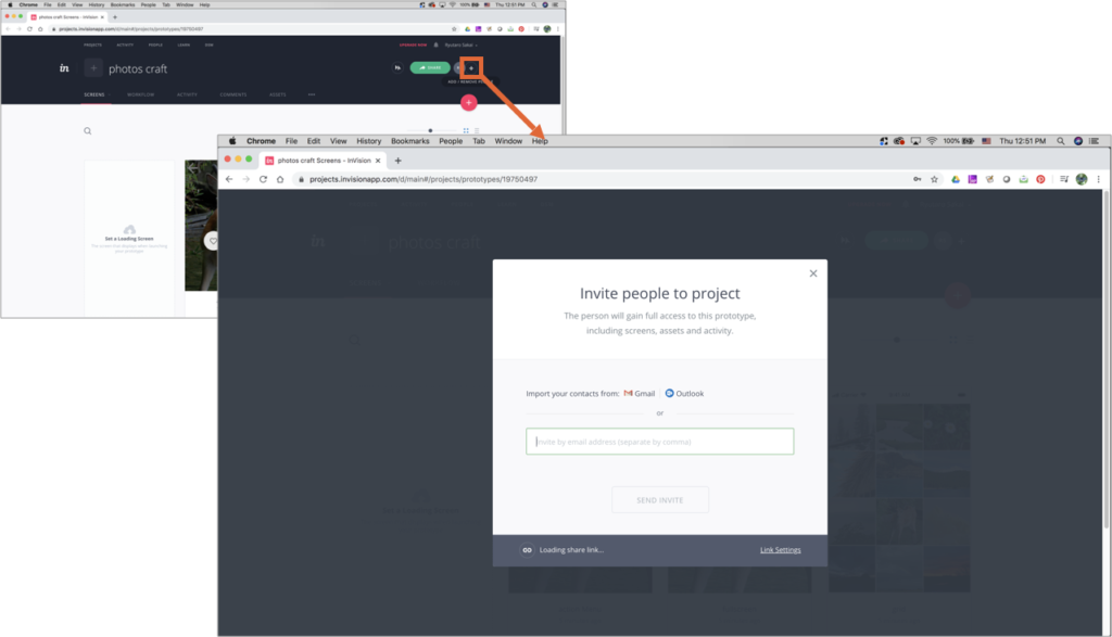 "InVision Cloud UI showing that clicking on ""+"" opens a popup to enter email to invite people."