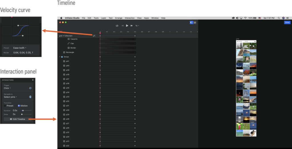 InVision Studio's timeline interface. You can also adjust a velocity curve.