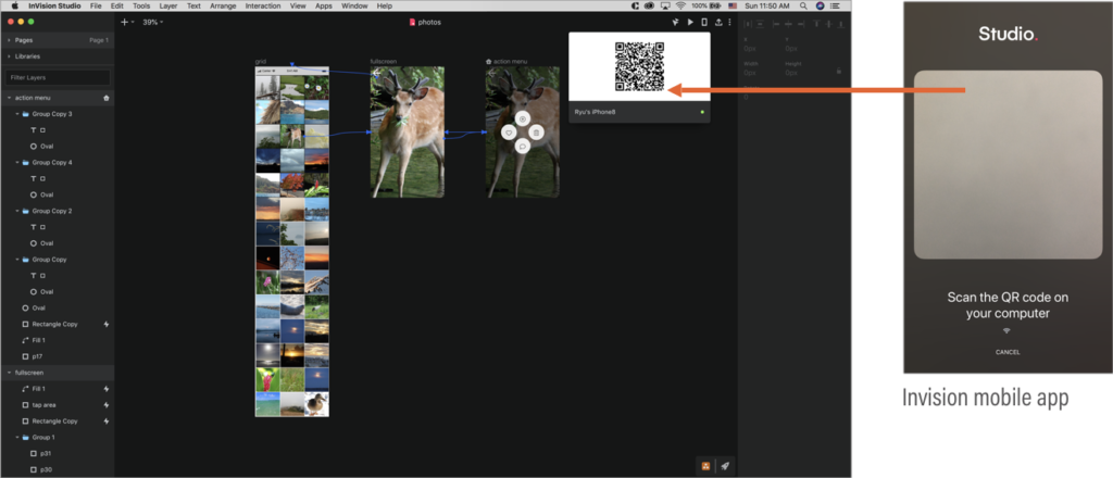 Screenshots of InVision Studio UI showing QR code, and InVision mobile app showing scan QR code screen.