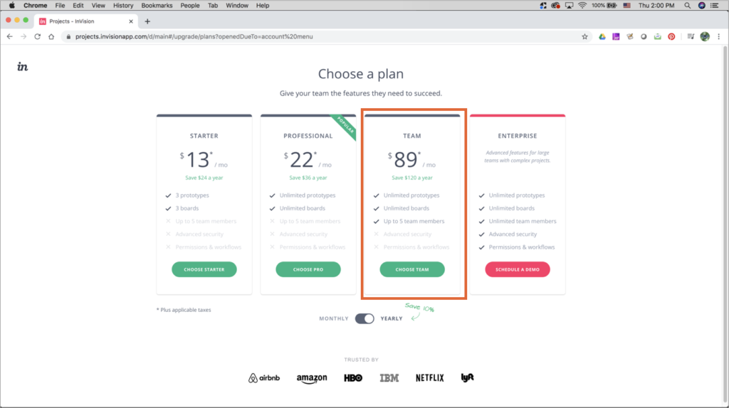 InVision Cloud pricing on InVision website, showing 4 options: Starters, Professional, Team, and Enterprise.