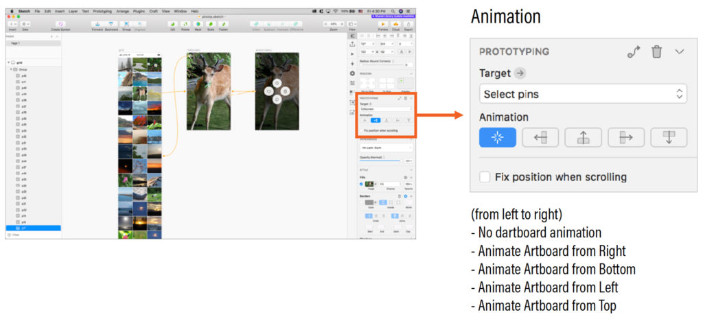 Sketch UI with a blow-up of Prototyping animation options.
