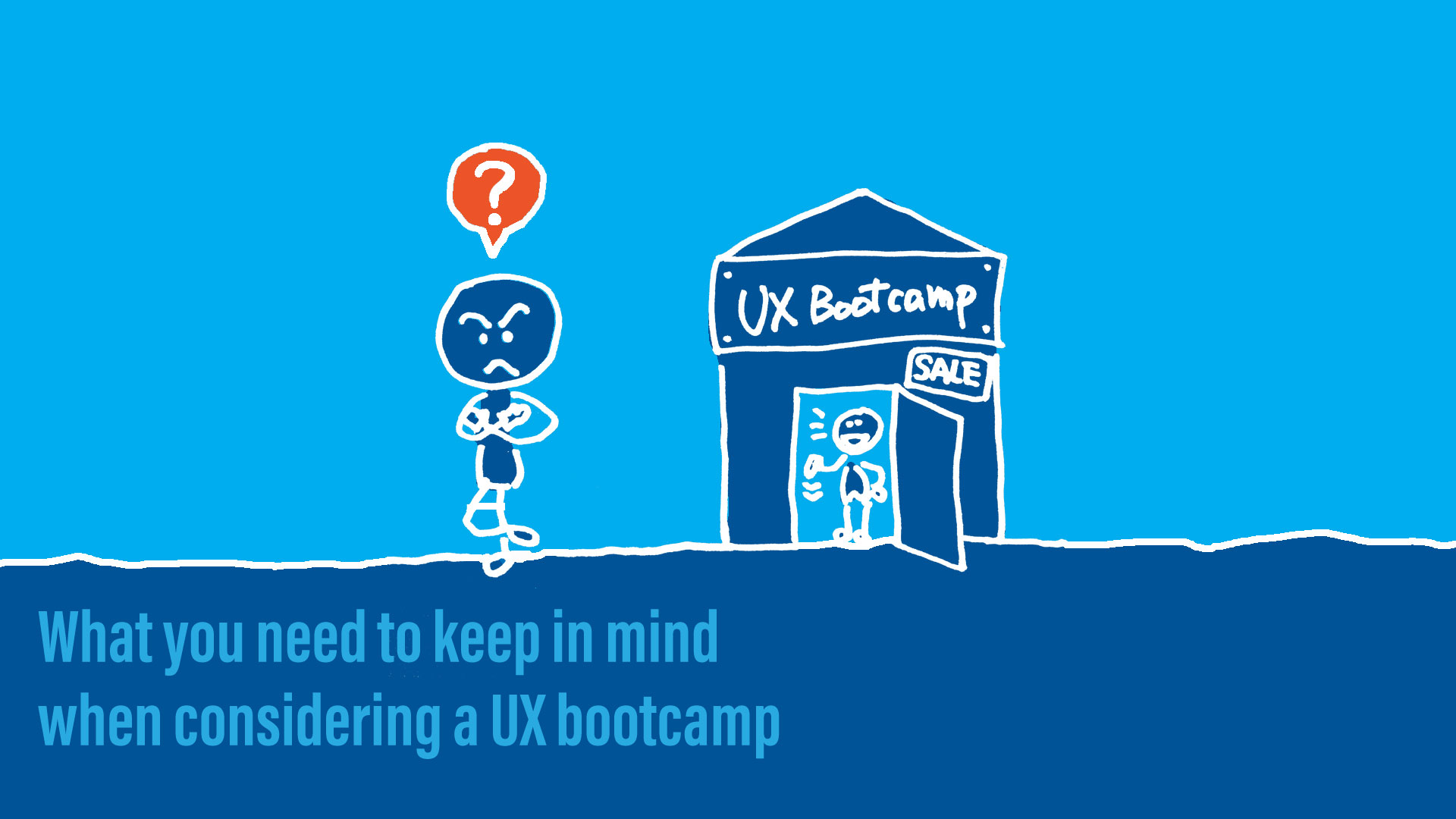 A person being skeptical about UX bootcamps with a title text.