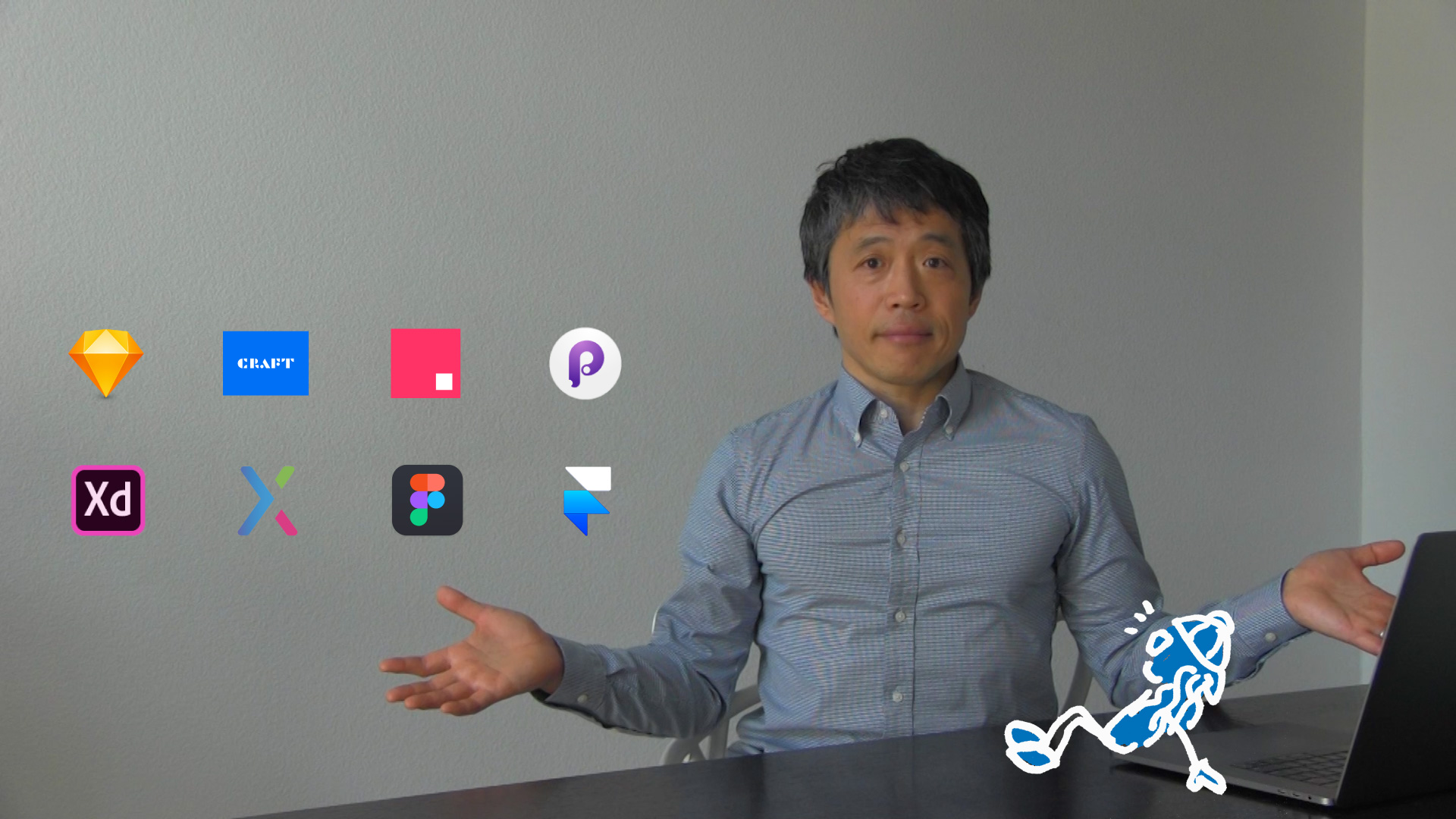 Logos of 8 popular prototyping tools shown with a person.