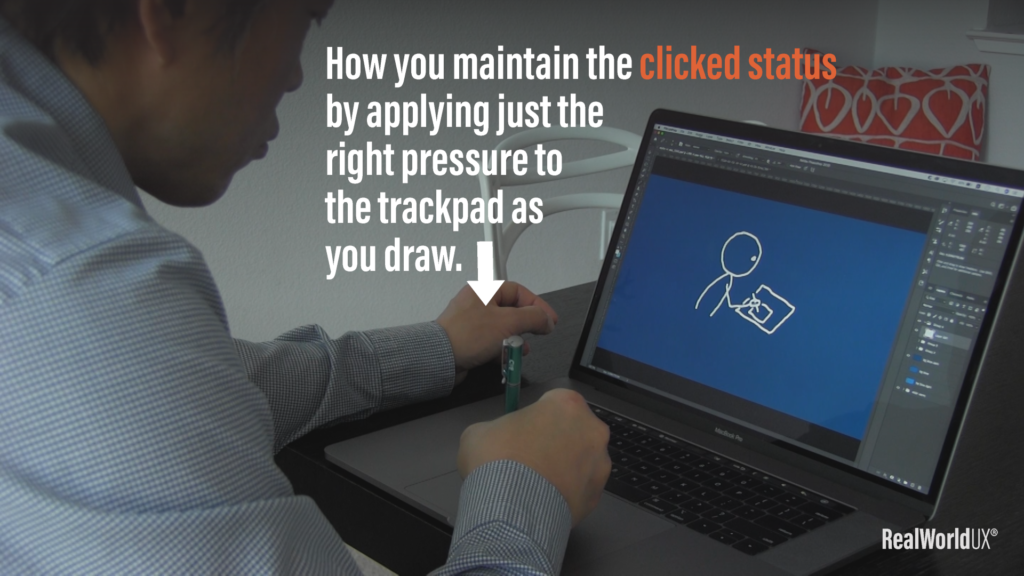 You need to maintain a clicked status of a trackpad to continue drawing.