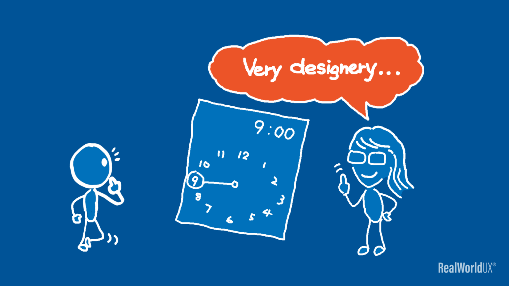 """An illustration showing a woman making a remark about Material Design time picker as """"designery""""."""