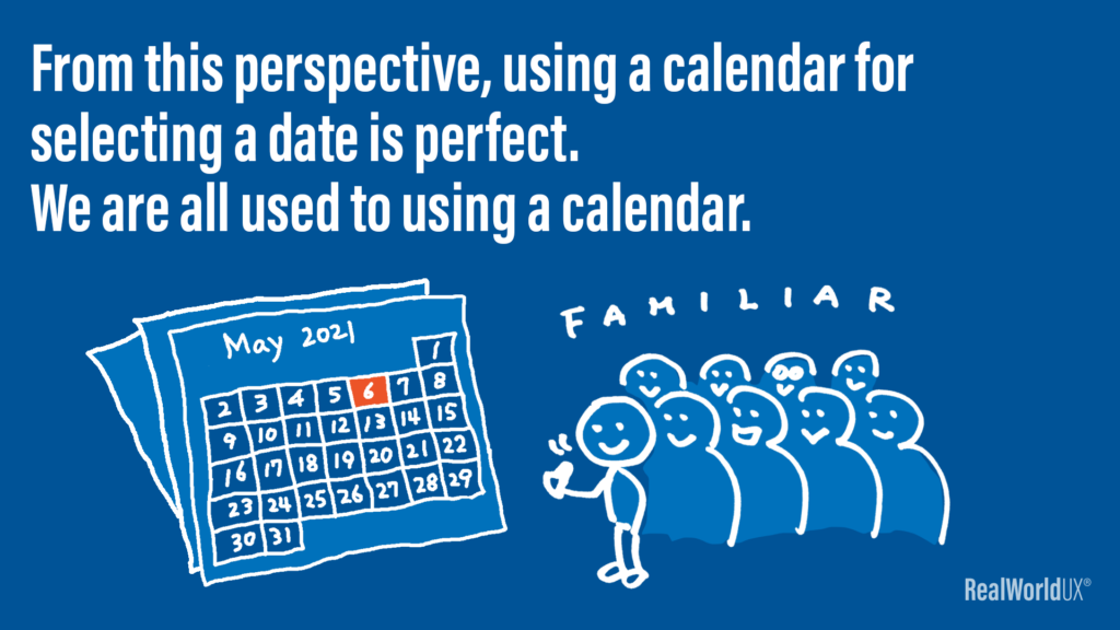 An illustration and a caption showing a calendar is something that people are familiar with.