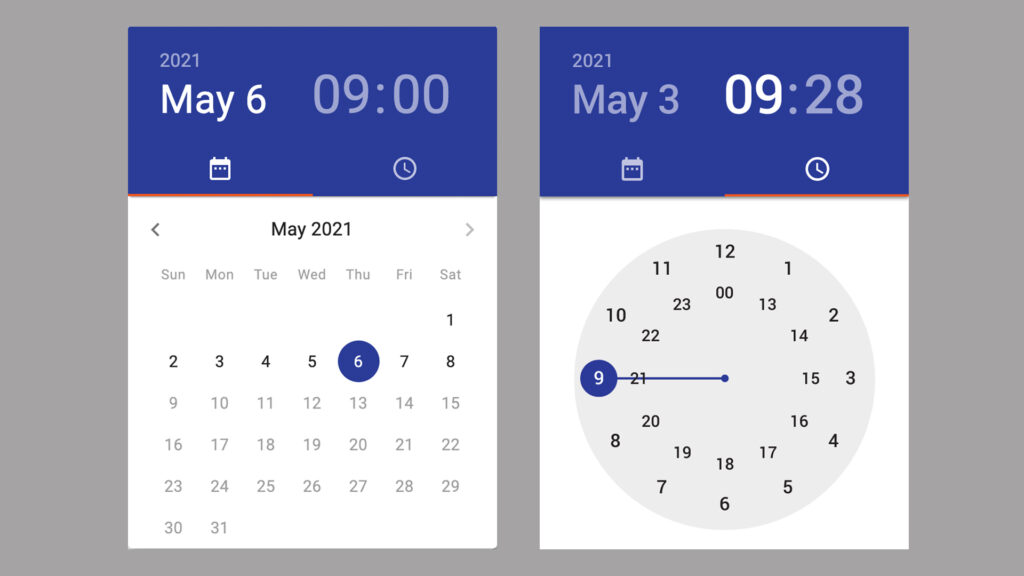 Screenshots of Material Design time picker and date picker.