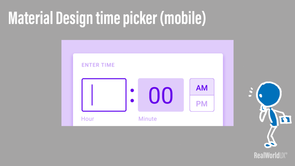 A screenshot of Material Design time picker mobile, that allows a user to type in hour and minute.