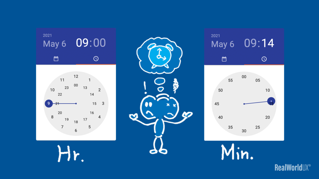 A visual showing Material Design timer picker separates hour and minute.
