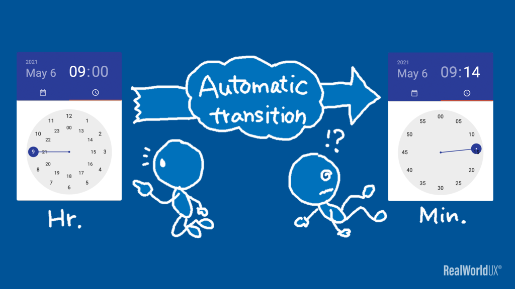 An illustration showing that there's an automatic transition as soon as an hour is selected in Material Design timer picker.