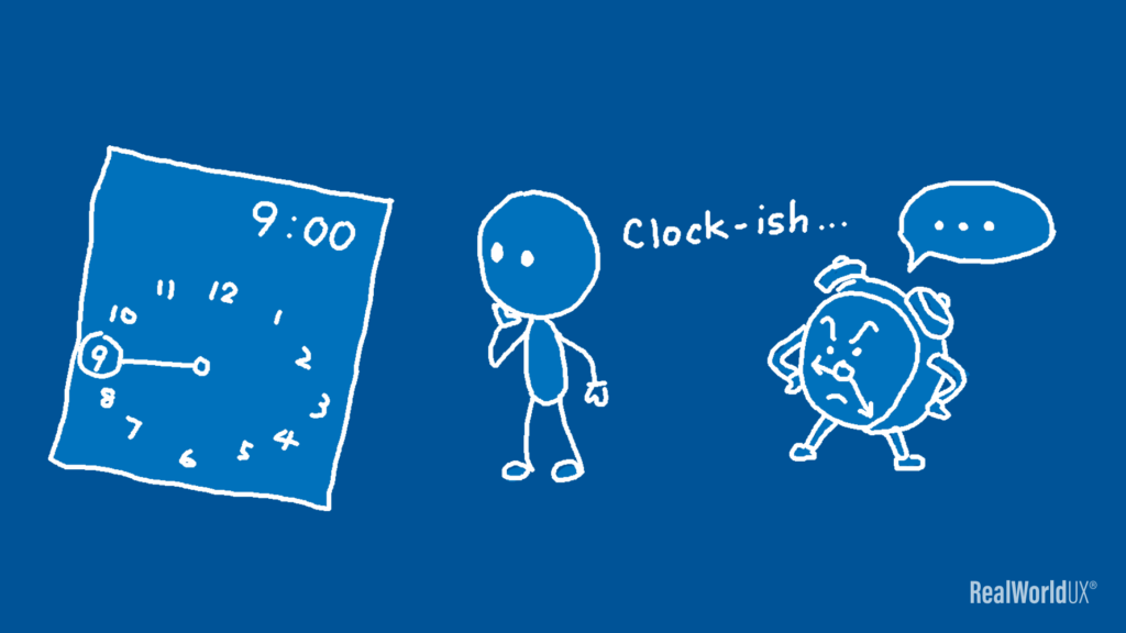 """An illustration showing that a guy and a clock thinking that Material Design time picker is """"clock-ish""""."""