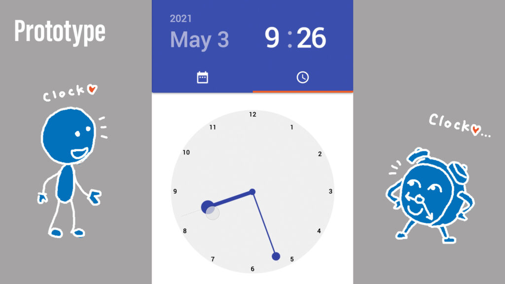 A prototype of Material Design time picker with a slight adjustment where hour and minute are shown simultaneously.