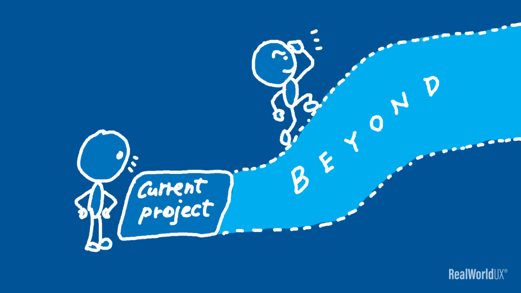 An illustration of a UX designer looking beyond his current project.