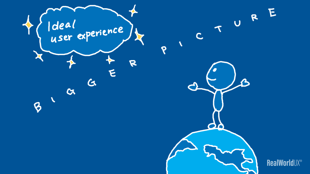 An illustration of a UX designer looking at a bigger picture towards an ideal user experience.