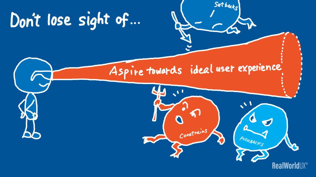 An illustration of a UX designer not losing sight of aspiring towards ideal user experience.