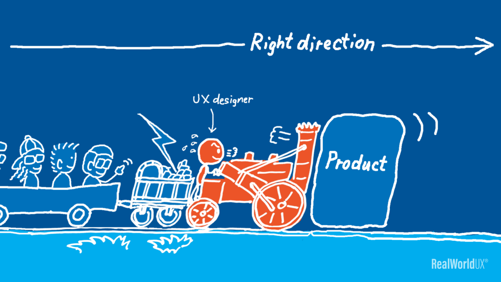 An illustration of a UX designer being a drive to pus things towards the right direction by driving a train.