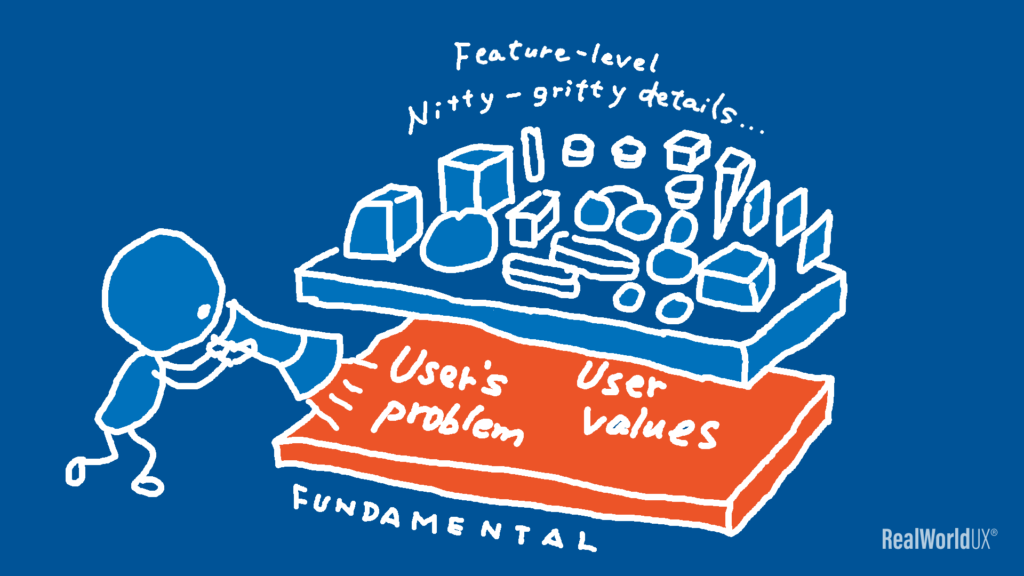 An illustration of a UX designer focusing on user's problem and user values at a fundamental level.