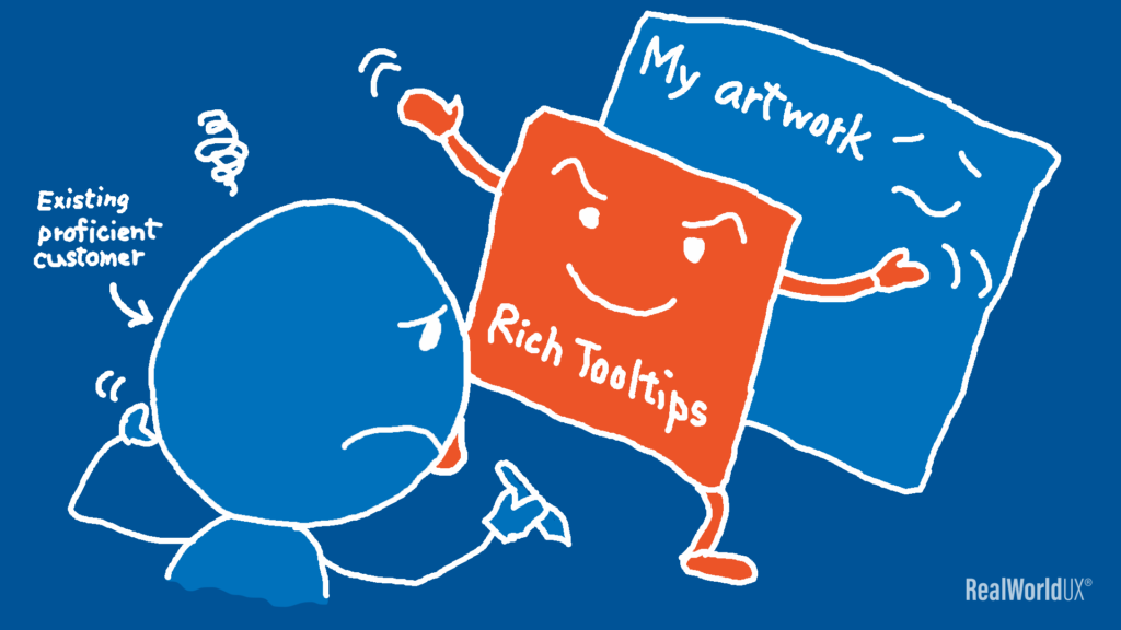 An illustration showing Rich Tooltips is getting in the way of the author trying to work on his artwork in Photoshop.