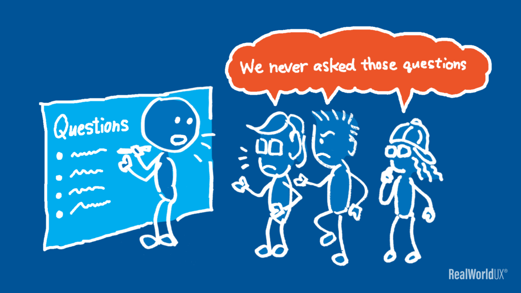 An illustration of team members saying that  they never asked those questions.