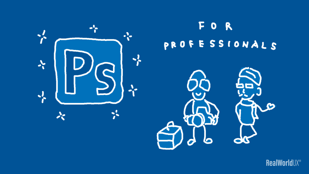 An illustration of an icon of Photoshop full version and its core users, who are professionals.