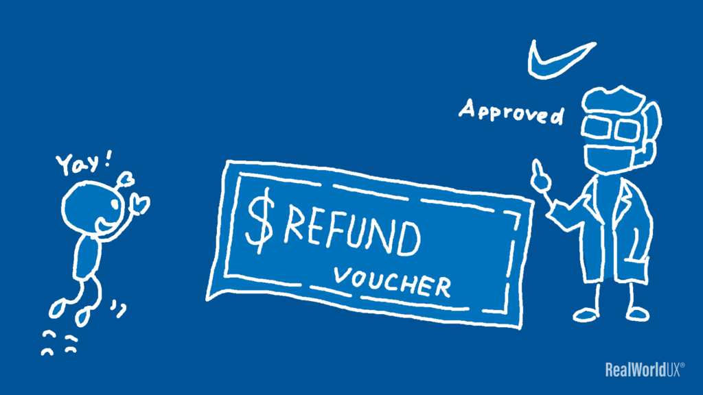 An illustration showing a Nike customer support giving the author a refund voucher, the author getting excited.