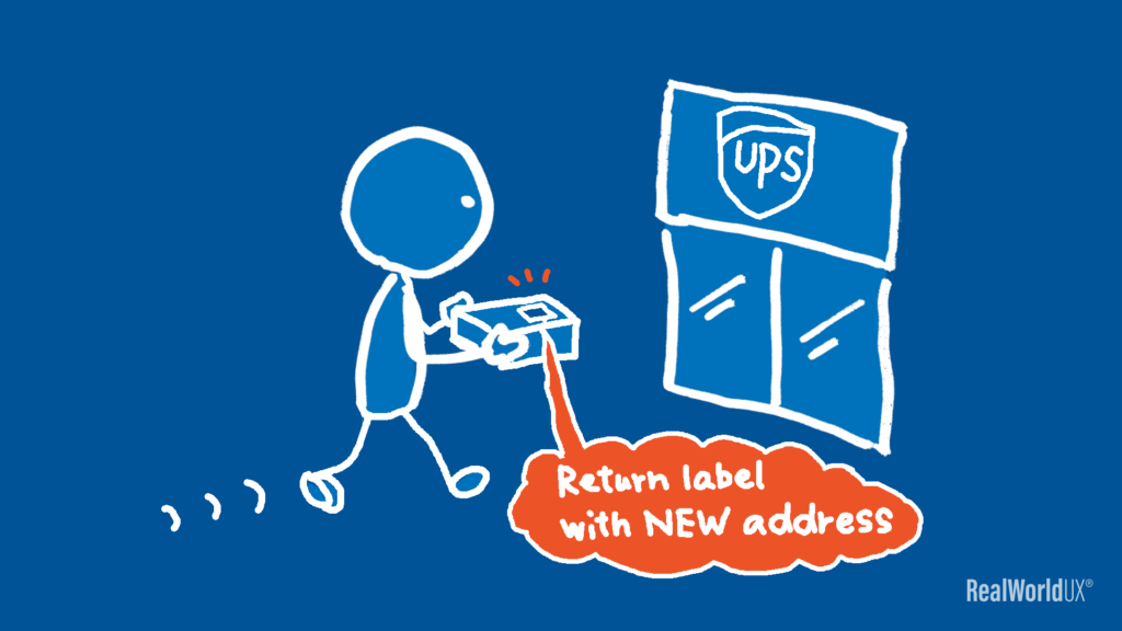 An illustration of the author dropping the returning product at UPS, with a return label provided by Nike customer support with the new address.