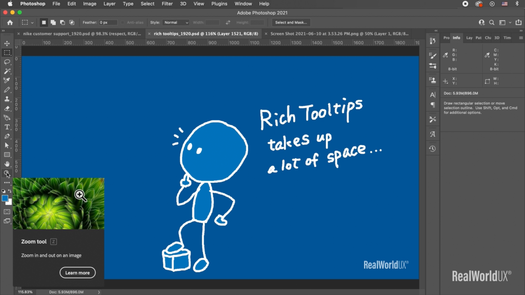A screenshot of Photoshop with Rich Tooltips showing how a zoom tool works.