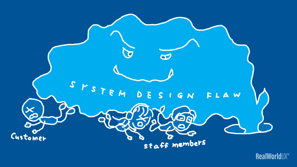 An illustration of a  system design flaw depicted as a monster stomping on a customer and staff members.