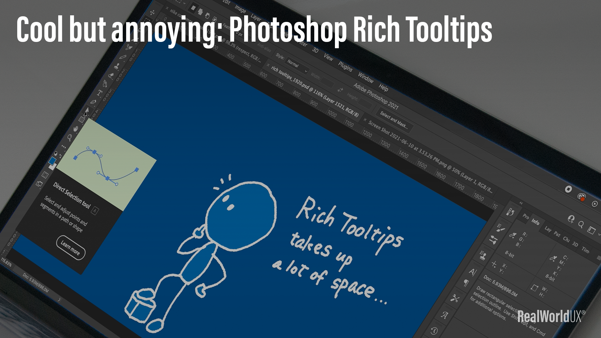 A screenshot of Photoshop Rich Tooltips appearing in Photoshop on top of the author's artwork.
