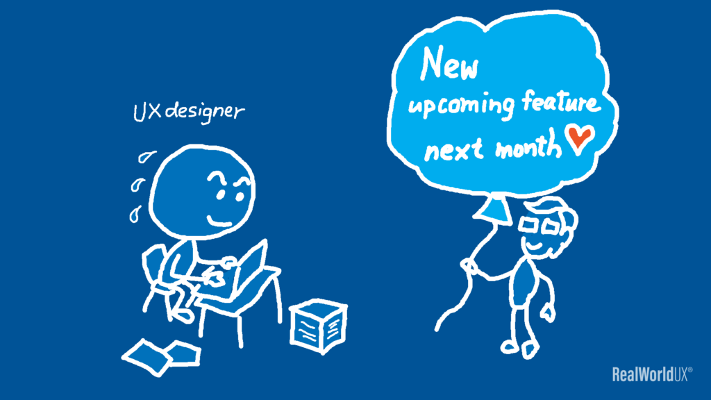 An illustration of a UX designer working on an upcoming new feature launch.