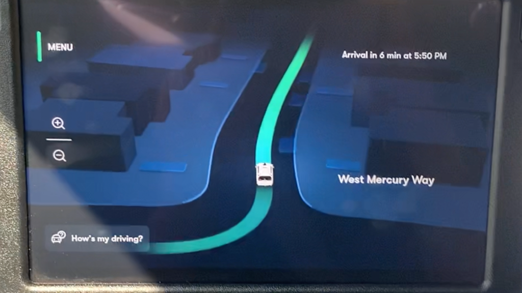 A photo of a 3D map displayed on Waymo's touch screen.