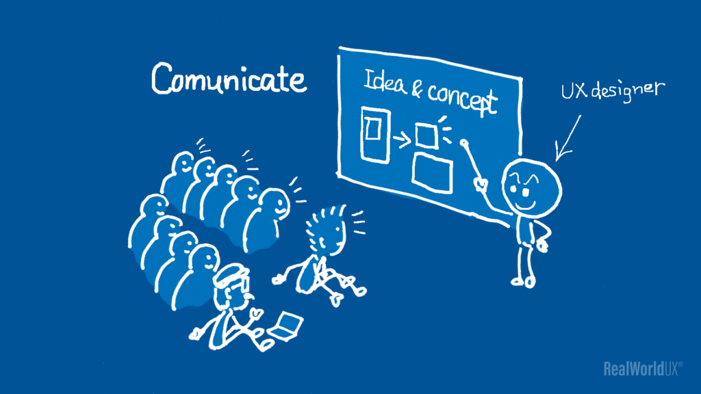 An illustration of a UX designer communicating his idea and concept to his audience.