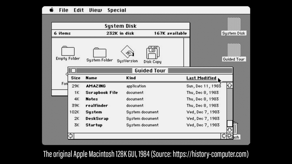 A screenshot of the original Apple Macintosh 128K GUI from 1984.
