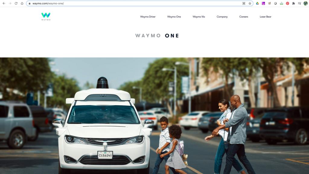 A screenshot of Waymo website.